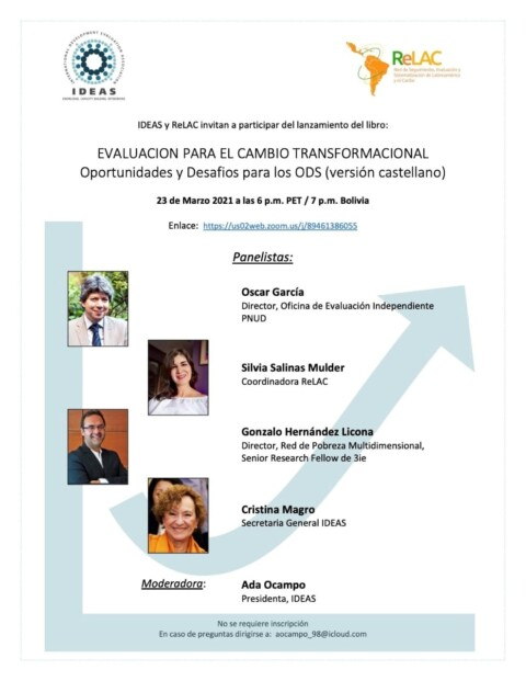 """Lanzamiento versión en castellano libro """"EVALUACIÓN PARA EL CAMBIO TRANSFORMADOR: Oportunidades y Desafíos para los Objetivos de Desarrollo Sostenible"""""""